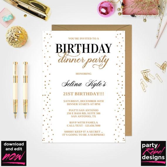 Birthday Dinner Party Invitation Black and Gold Birthday   Etsy