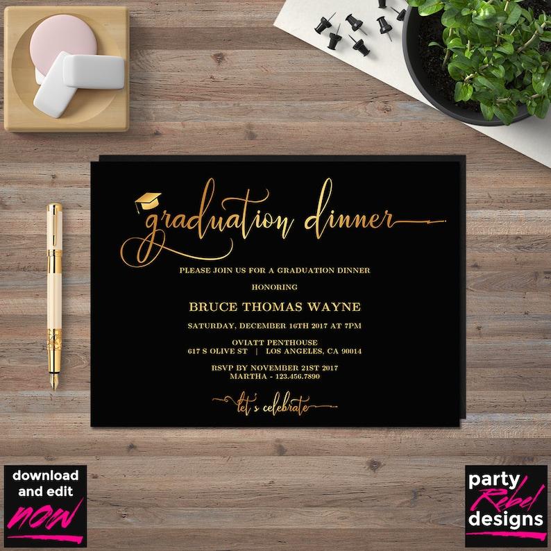 Graduation Dinner Invitation Template Printable Black And Gold DIY Party Editable GD09