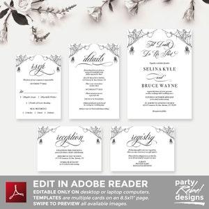 Vintage Editable Hallowedding Vintage Gothic Wedding Invitations WS22 Gothic Rustic Wedding Halloween Wedding Til Death Do Us Part