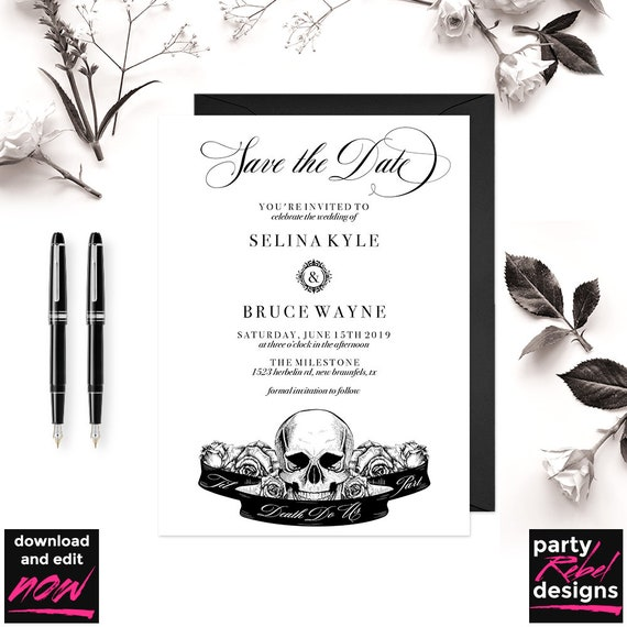 vintage gothic save the date invitation template halloween etsy