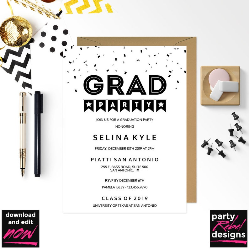 photograph about Printable Graduation Party Invitations referred to as Printable Commencement Social gathering Invitation Template, Grad Bash, Commencement, Occasion Template, Kraft, Do-it-yourself Commencement Bash, Fast Obtain, GD20