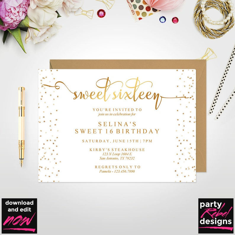 Sweet Sixteen Invitation Template Gold Birthday Printable Instant Download BD27