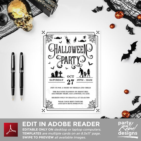 image about Printable Halloween Party Invitations known as Halloween Celebration Invitation Printable, Halloween Invitation, Halloween Template, Halloween Gown Occasion, Editable, Witch Get together, HW08