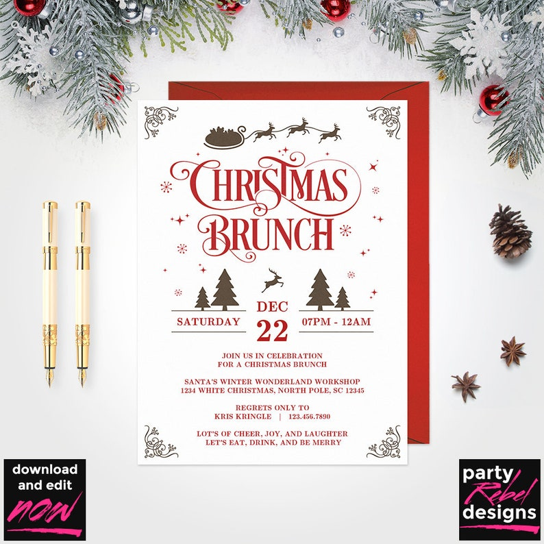 Christmas Brunch Invitation Printable Template Party Holiday PDF CM07