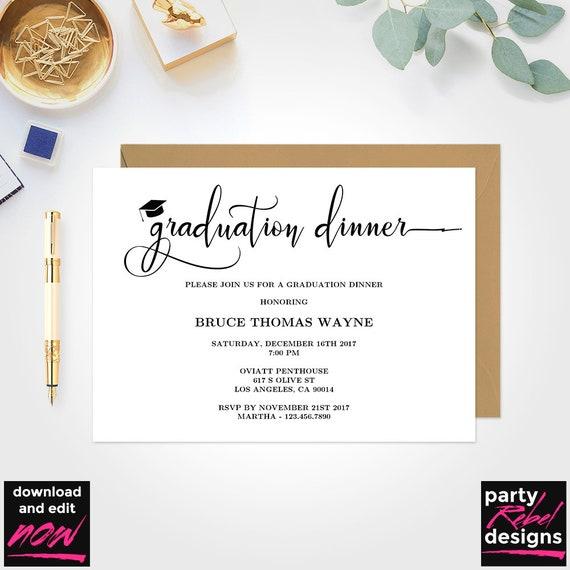 printable graduation dinner party invitation template grad etsy