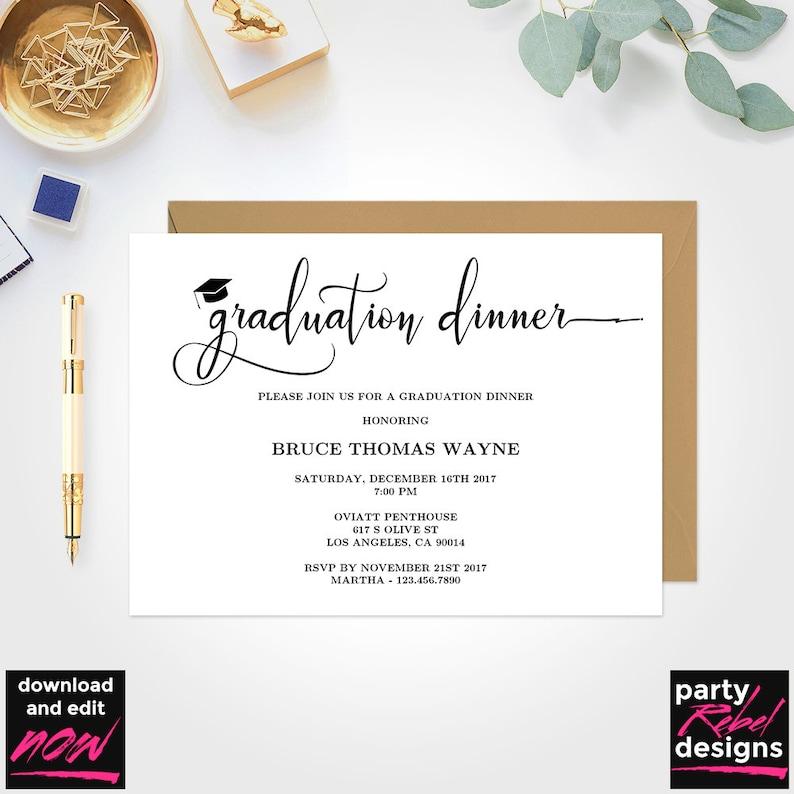Printable Graduation Dinner Party Invitation Template Grad DIY GD09
