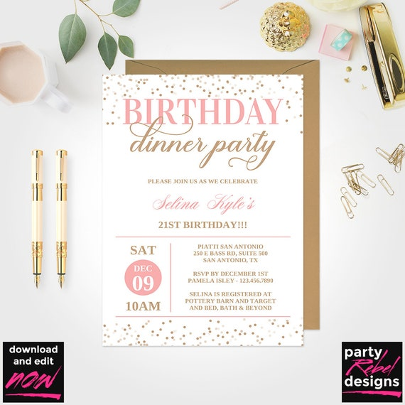 Blush Birthday Dinner Invitation Pink And Gold Birthday