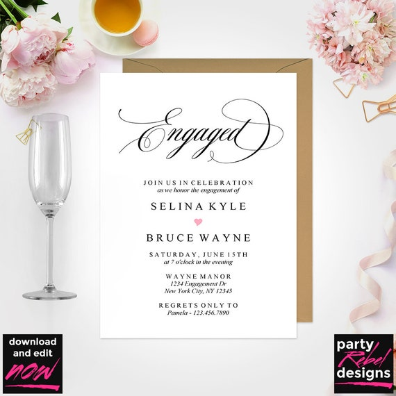 Engagement Invitation Template Save The Date Dinner Party Printable PDF EG01