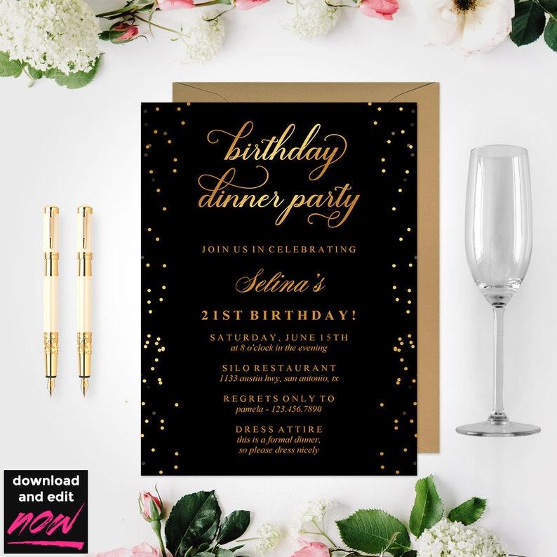 Birthday Dinner Invitation Template Black And Gold Birthday Party 21st Birthday Gold Dinner Invitation Birthday Party Invite BD46