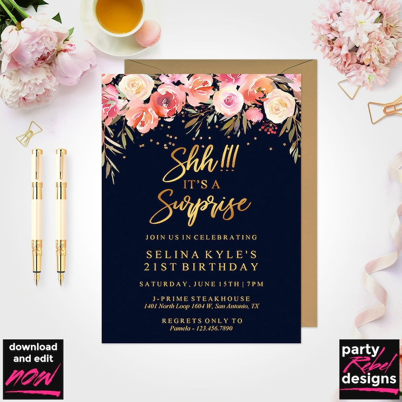 Surprise Birthday Invitation Template Party Invitations Navy Floral Gold BD05