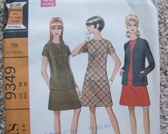 UNCUT Misses and Junior Dress and Jacket in Two Versions - Size 14 - McCalls Sewing Pattern 9349 - Vintage 1968