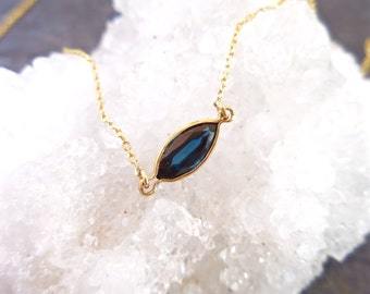 Sapphire Marquise Necklace, Blue Sapphire, Sapphire Marquise, September Birthstone, Sterling Silver, Oxidized, or 14kt Yellow Gold Filled