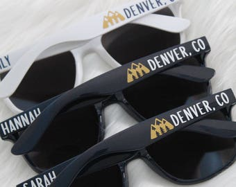 Personalized sunglasses - Mountain getaway - bachelorette party - wedding party sunglasses - bach party - wedding favor - custom sunglasses