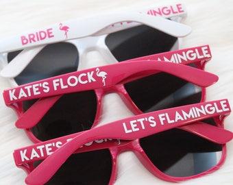 Personalized sunglasses - Let's Flamingle bachelorette party sunglasses - flamingo - bride's flock - wedding favor - bachelor party