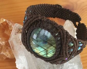 Macrame Bracelet with Labradorite - Cuff Bracelet -  Hippie Boho Macrame Jewelry -  Tribal Festival -  Earthy, Mystical, Healing