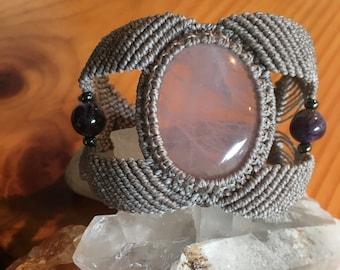Macrame Bracelet with Rose Quartz & Amethyst - Cuff Bracelet - Hippie Boho Macrame Jewelry - Tribal Festival - Earthy, Mystical, Healing
