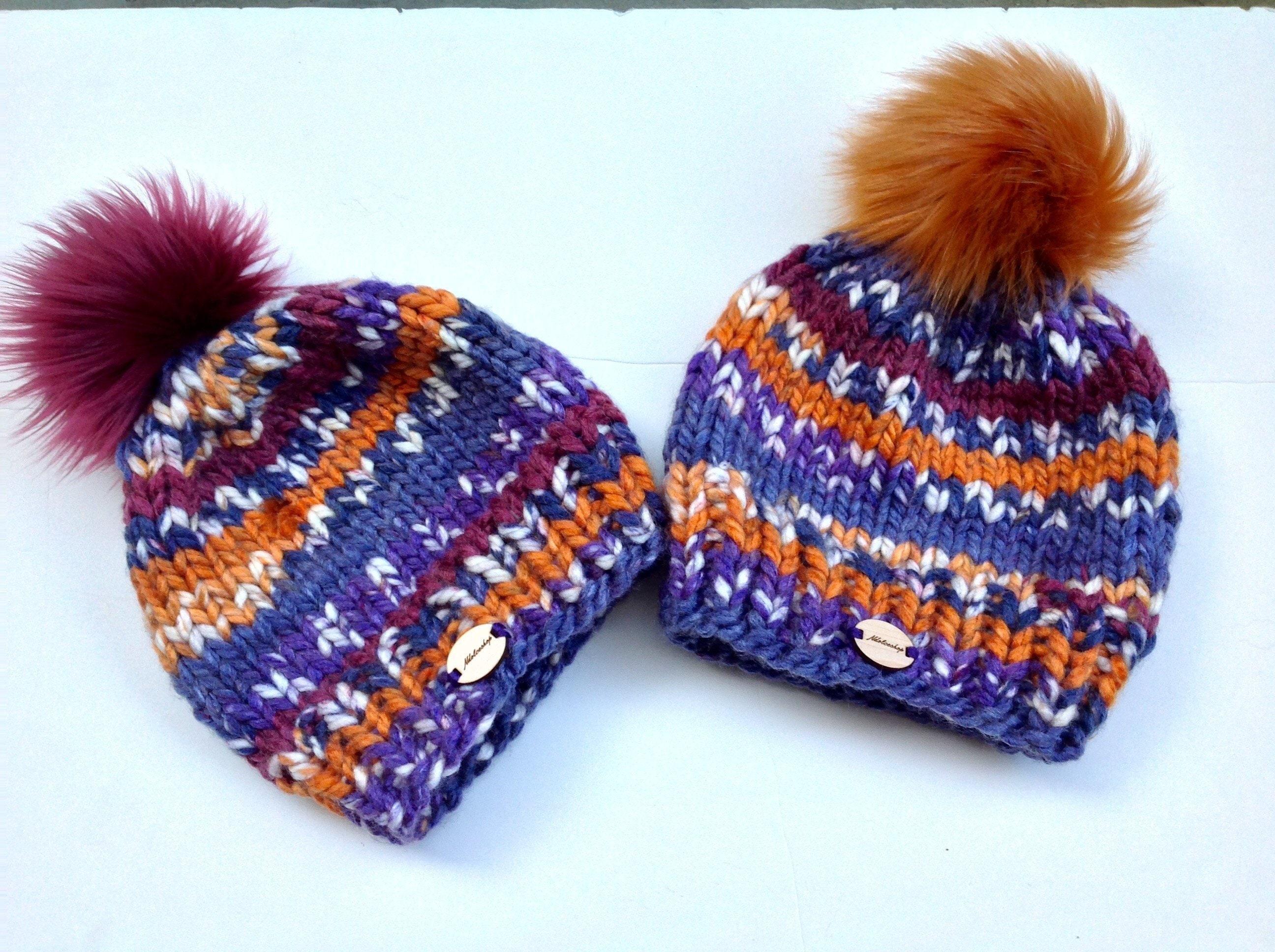 Chunky knit hat faux fur Pom Pom knitted beanies winter  b3d8fe1a03ec
