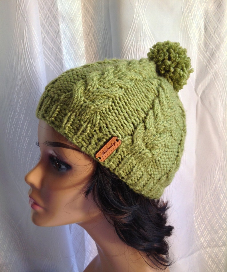 9ee7e2fa813 Wool hat unisex beanie green cable knits