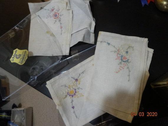3 Brussels lace  center handkerchiefs  original pk