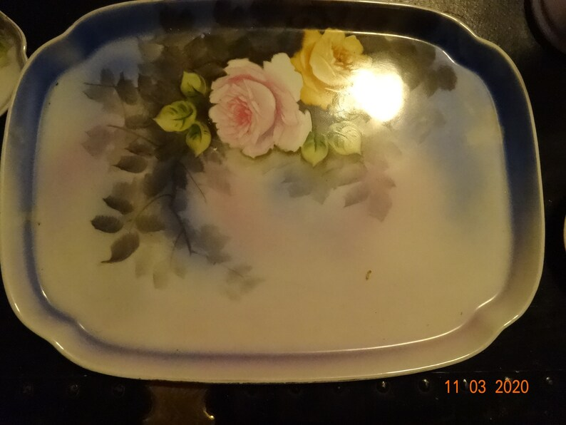 roses on blue 2 candlesticks one chip jars Noritake 1920s ceramic dresser set ring holder