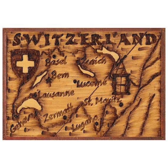 SWITZERLAND Map 5G Free Shipping Handmade Leather Photo Album Travel Art