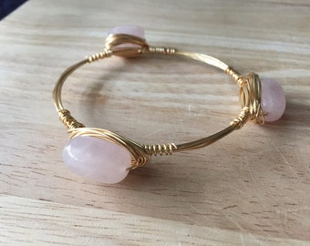 Wire Wrapped Stone Bangle | Wire Wrapped Pink Stone Bracelet | Stone Bangle | Stone Bracelet