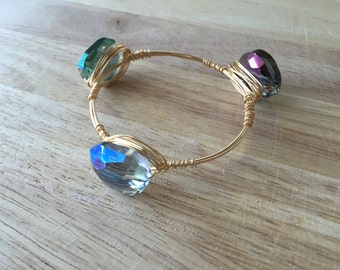 Wire Wrapped Stone Bangle | Wire Wrapped Blue Green Stone Bracelet | Stone Bangle | Stone Bracelet
