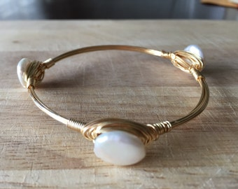 Wire Wrapped Pearl Bangle | Wire Wrapped Pearl Stone Bracelet | Stone Bangle | Stone Bracelet