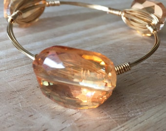 Wire Wrapped Stone Bangle | Wire Wrapped Orange Stone Bracelet | Stone Bangle | Stone Bracelet