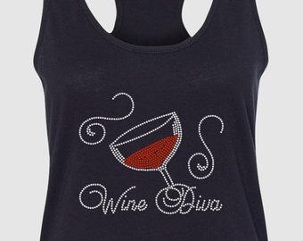 6128e4cdd Wine Rhinestone T-Shirt Wine Diva Rhinestone T-Shirt Wine Women's Rhinestone  T-Shirt Custom Rhinestone T-shirts Wine Rhinestone T-Shirts