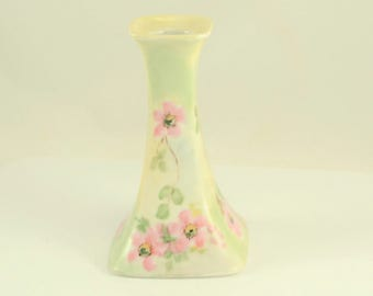 Limoges France Candlestick Hand Painted Wild Rose  P L Limoges Cottage Chic