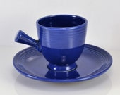 Fiesta Demitasse Stick Handle Cup Saucer Original Cobalt Blue 1936 to 1951 Rare Art Deco Style Homer Laughlin Pottery After Dinner Service