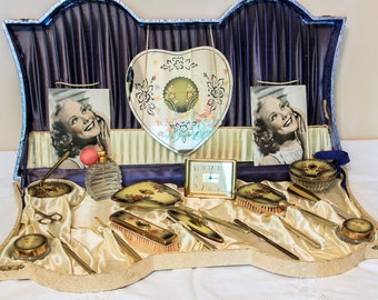 Vanity Dresser Set  Boudoir 1940s 18 Pieces Hand Mirrors Tray Brushes DeVilbiss Perfume Atomizer Cosmetic Art Deco Jars Manicure Tools