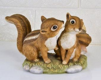 Sweetheart Chipmunks Figurine Bisque Porcelain Homco Masterpiece Collection Vintage 1990 Woodland Forest Cabin