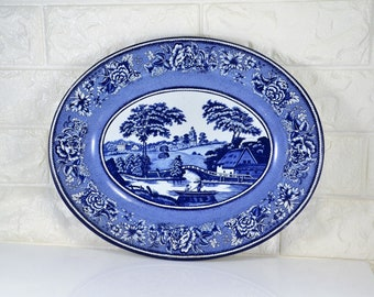 Blue Willow Metal Tray by Daher Decorated Ware Made in England for Use or Wall Decor Country Modern Farmhouse Decoration