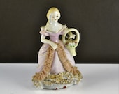 Dresden Lace Figurine Woman w Flower Basket Occupied Japan Colonial Victorian Renaissance Porcelain Pink Dress Flowered Shoulders