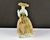 Dresden Lace Figurine Woman w Parasol Umbrella Hat Occupied Japan Colonial Victorian Renaissance Porcelain Pink 1 Dress