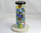 Jar of Glass Marbles - Cat Eyes - Clearies - Windowsill Decor - Vitro Akro Peltier
