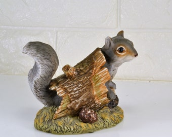 Squirrel in Log  Figurine Bisque Porcelain Homco Masterpiece Collection Vintage 1986 Woodland Forest Cabin