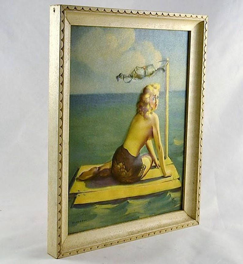 Cheesecake Gil Elvgren Louis F 1939 Short on Sails Bas Relief Pin Up Printed Signature Dow Framed Raised Lithograph