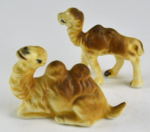 Camel Figurines Porcelain 2 Hump Bactrian Camels Baby