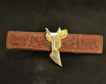 Western Tie Clip Tooled Leather Gold & Silver Tone Metal Saddle Men's Fashion Cattleman Cowboy