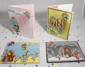 "Set of 4 ""Faerie"" themed card set"
