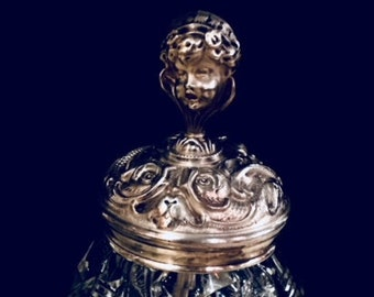 Rare Sterling Silver Repousse Crystal Jar with Cherub Figurine, Art Nouveau Sterling Silver and Crystal Jar