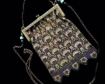 Whiting and Davis Enameled Mesh Purse, Cross Body Vintage Mesh Purse, Wearable Art