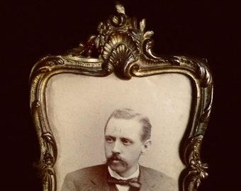 Antique Brass Picture Frame, Art Nouveau Brass Photo Frame, 4x6 Vintage Brass Frame