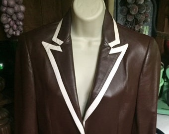 Ralph Lauren Collection Brown Leather Jacket with White Leather Trim