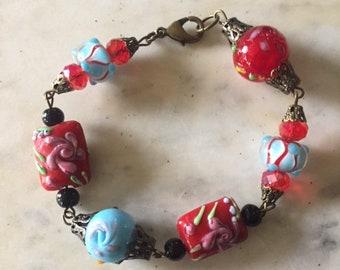 Wedding Cake Bead Bracelet, Turquoise and Red Glass Bead Bracelet, Vintage Glass Bead Bracelet,