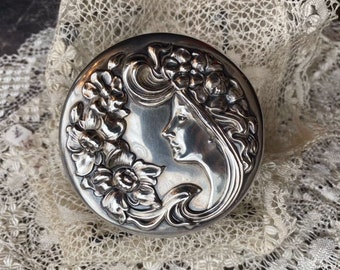 Sterling Silver Repousse  Crystal Dresser Jar Embossed with Art Nouveau Lady, Art Nouveau Lady Dresser Jar