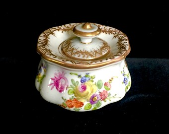 Pompe Paris France Antique French White Porcelain Inkwell Encrier A